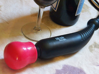 wand massager with wine glass