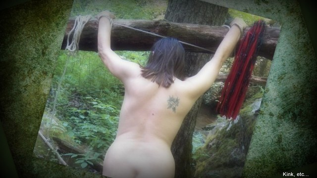 flogger in the woods